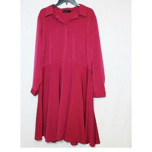 Eloquii magenta chiffon fit and flare plus dress